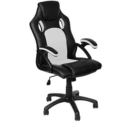 Panorama24 Gamer Stuhl Gaming Schreibtischstuhl Chefsessel Bürostuhl Ergonomisch, Weiß, 9 Farbvarianten, gepolsterte Armlehnen, Wippmechanik, belastbar bis 150 kg, Lift TÜV geprüft