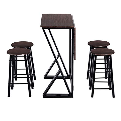 Danxee 5 Piece Pub Dining Set Drop Leaf Folding Bar Height Kitchen Table with 4 Bar Stools (Coffee)