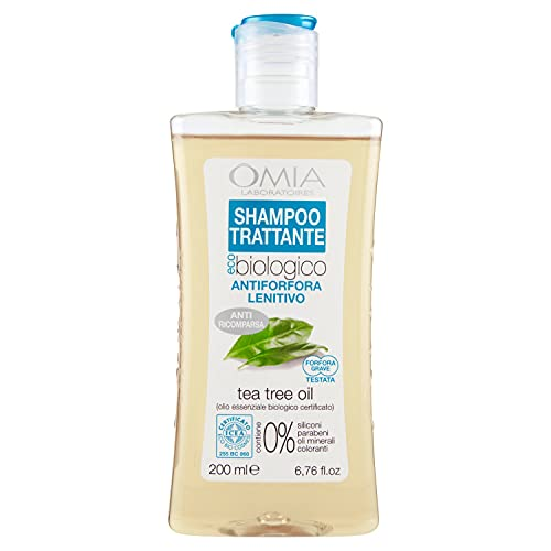 Omia Therapy Shampoo Trattante Eco Bio Con Tea Tree Oil, Shampoo Antiforfora Lenitivo, Ottimo per Capelli con Forfora e Cuoio Capelluto Irritato, Dermatologicamente Testato, 200 ml