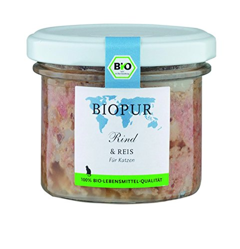 Biopur rund, rijst 100 g biologische kattenvoering in glas, verpakking van 12 (12 x 100 g)