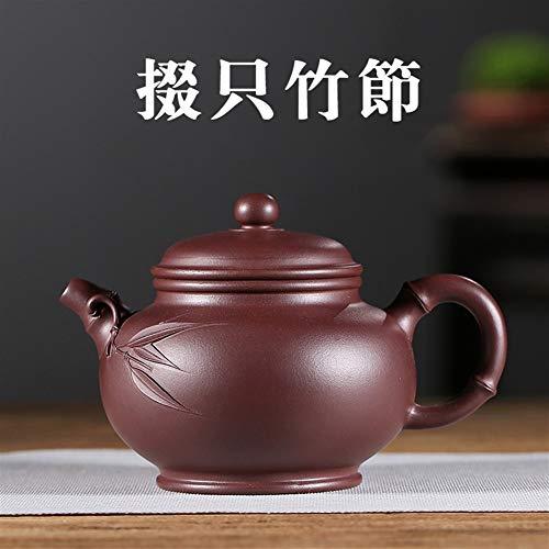 WANGZHI Famosa Tetera de Arcilla púrpura Drop-Famosa Hecha a Mano de bambú sólo viajan té (Color : Purple mud, Size : One Size)