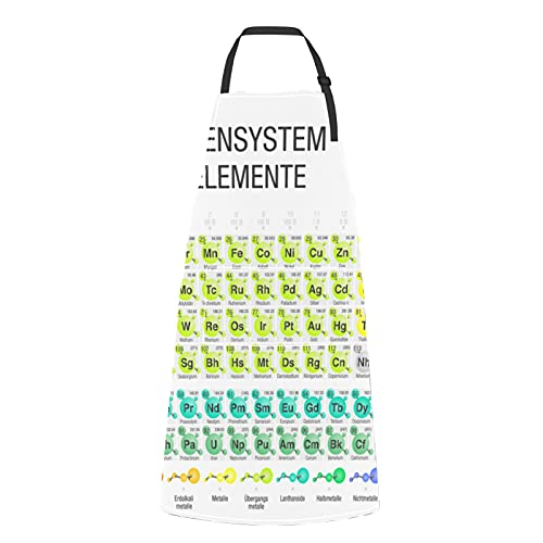 Tabla periódica de elementos químicos de moda Delantales de hombre para cocinar Elementos químicos de moda Tabla periódica Corbata...
