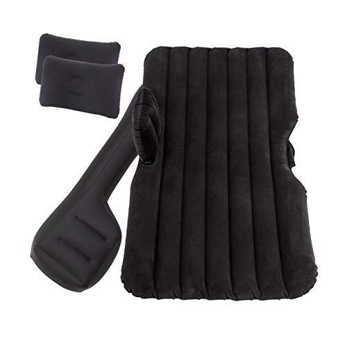 Jinan Cama de viaje para coche, colchón de aire automático, asiento trasero, sofá inflable, cama dividida, camping al aire libre, cojín de descanso sin inflar, color negro