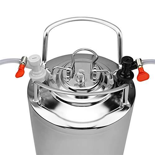 YQUC Durable 19L Edelstahl Bier-Fass-Flaschen Growler Frisch mit Kugelsperr Bier-Linie zusammenbauen Co2 Bier Regulator Bier Werkzeugbau Druck (Color : Silver)