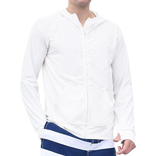 GronG(グロング) ラッシュガード メンズ 長袖 パーカー UVカット UPF50+ フード付き ホワイト Lサイズ