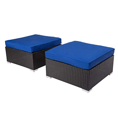 Kinbor 2 Piece Patio PE Rattan Ottomans All Weather Outdoor Wicker Ottoman Seat Foot Rest with Cushions (Royal Blue)
