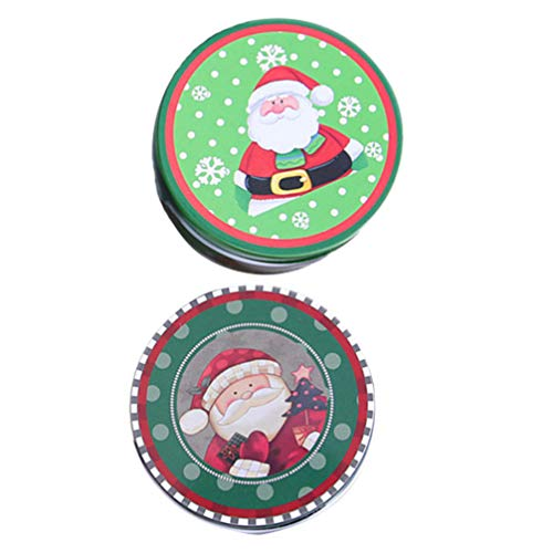Toddmomy 2 st jul plåt tomma burkar med lock sötsaker kakburk jul present förvaringsbehållare semester dekorativ låda julfest billiga leveranser