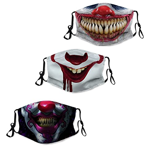 3Pcs Scary Clown Face Mask Dustproof Scarf Breathable Reusable Adjustable Washable Horrible Halloween Smile Mouth Bandana Balaclava With 6 Filters for Men Women