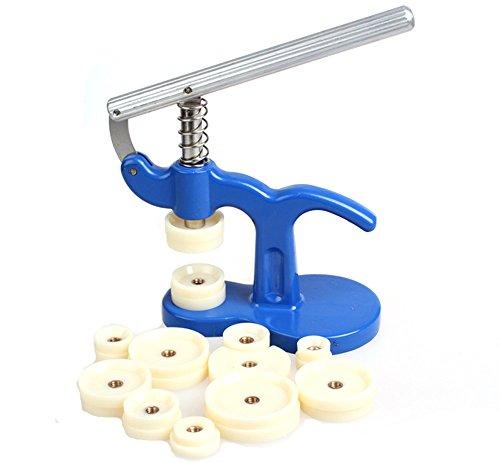 Wisfor Uhr Presse Einpresswerkzeug Set Uhren Presse Rückseite Gehäuse Uhrenmacher Reparatur Werkzeug mit 12 Druckplatten Kunststoffeinsätze