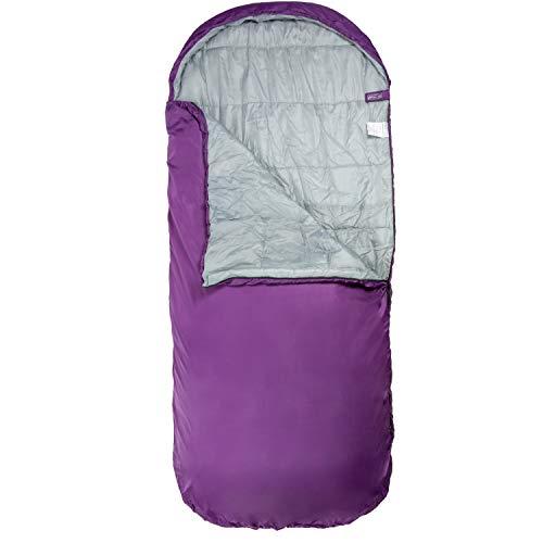 Highlander Breiter Schlafsack Big XL Extra großes Pod-Design, perfekt für Camping, Übernachtungen und Festivals - Leichte Einzeltaschen für Erwachsene Juniors Kids Sleephaven (Grape Juice)