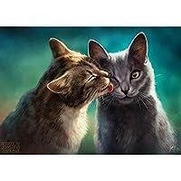 大人と初心者のための5Dダイヤモンド絵画キット、DIYダイヤモンド絵画キット、キャラクター動物の風景パターンラインストーン刺繡芸術工芸品-猫にキス 30x40cm
