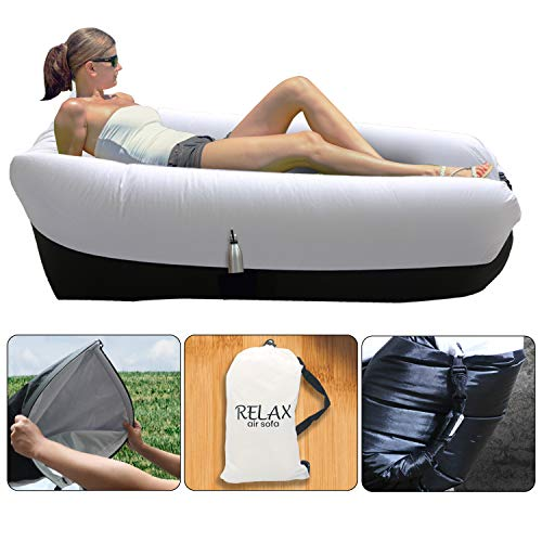 RLX Inflatable Lounger Air Sofa – Portable Hammock, Inflatable Couch for Backyard, Beach, Traveling, Camping, Picnics, Hiking, Portable, Water Proof with Anti-Air Leaking Design (Multicolor)