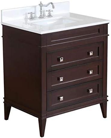 売り出し Eleanor 30-inch Bathroom Vanity 商舗 Quartz : Cho Includes Chocolate