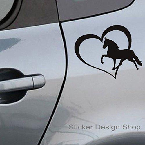 Pferde Herz Auto LKW Laptop Aufkleber Horse Pony Reiten Sticker Car Wandtattoo (10 x 8 cm BxH)