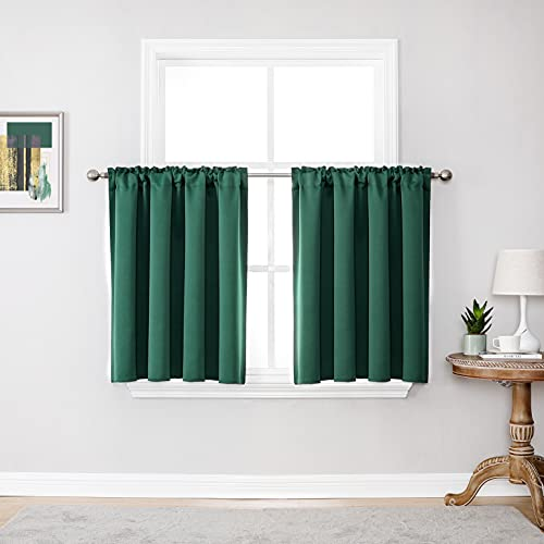 Hunter Green Short Curtains 36 Inches Long for Loft 2 Panels Room Darkening Rod Pocket Cafe Tiers Curtains Bathroom Small Windows Green Blackout Curtains for Nursery Living Room 52 X 36 Inch Length