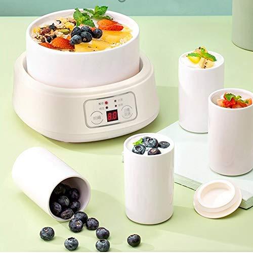 Joghurtbereiter,Joghurt-Maker,4 Keramikbecher + 1 L Keramikfolie, 4 Hauptfunktionen Joghurt / Enzym / Natto / Reiswein, Intelligente Automatische Abschaltung, Gärung Bei Konstanter Temperatur