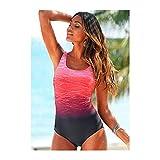 YUANYUAN520 Push Up Swimwear Criss Cross Back Una Pieza Playa Baño Traje Gradiente Impresión Sexy Una Pieza Traje De Baño De Mujeres (Color : Pink, Size : S.)
