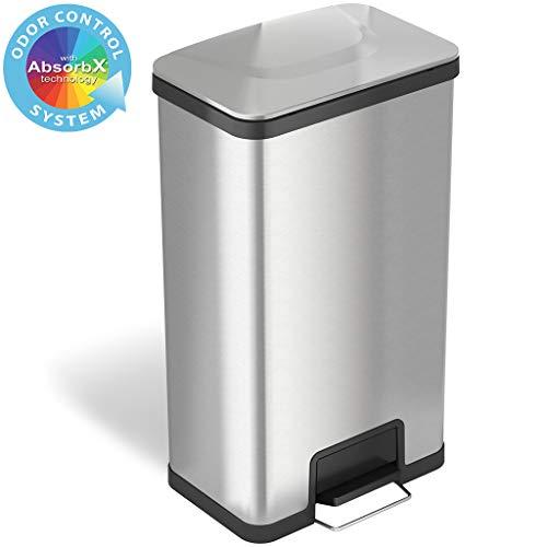 iTouchless Airstep Tretmülleimer mit AbsorbX Geruchskontrollsystem, 68 Liter extra Kapazität, Edelstahl, handelsübliche Garage, Mülleimer für Zuhause und Büro, Küche