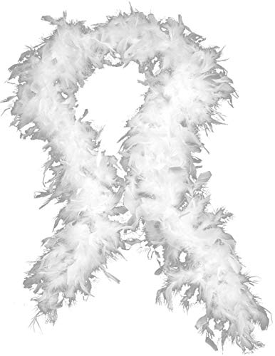 OverDose Damen Qualität Weiße Federboa Flapper Hen Night Burlesque Bar Dance Party Zeigen Mode Kostüm Langen Schal