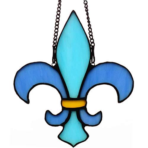"""HAOSUM Christmas Decorations Blue Fleur De Lis Stained Glass Window HangingsFleurDeLis Design Suncatcher 57quot×49"""""""