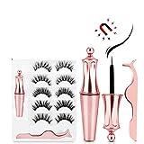 Magnetic Eyelashes with Eyeliner, Mixed 6D Reusable False Eyelashes Kit and Magnetic Eyeliner Set, 2020 Upgraded Magnetic Eyelashes With Tweezers (5 Pairs)