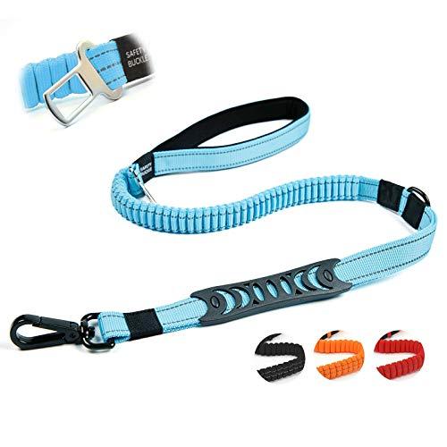 Petvins Strapazierfähige Hundeleine – reflektierendes Nylon-Hundetrainings-Seil mit gepolsterten Griffen – Hunde-Auto-Sicherheitsgurt – starkes Bungee für Stoßdämpfung, blau