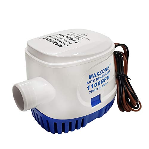 MAXZONE Automatic Submersible Boat Bilge Water Pump 12v 1100gph Auto with Float Switch (Blue - Automatic)