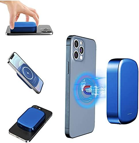 Boostexx bateria externa 10000mAh magnetica, Mag-saf bateria inalámbrico, potencia 15/20W carga rápida Usb-C, Mini batería Alta capacidad para iPhone12/12Pro/Max/12Mini,Samsung,Xiaomi. Azul metallico