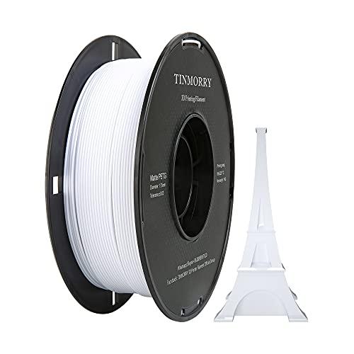 TINMORRY - Filamento PETG 1,75 mm per stampante 3D, 1 kg 1 bobina, bianco opaco