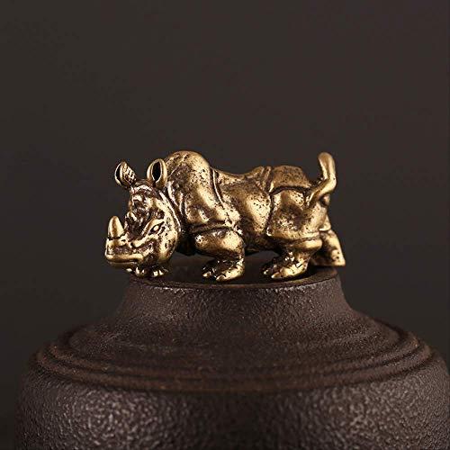 JYKFJ Adornos Colgantes de Rinoceronte Macizo de latón Retro Estatua de Toro Animal de Bronce Antiguo Hombres Llavero de Coche Anillos Decoraciones de Escritorio Regalos