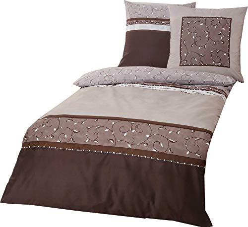 Kaeppel Mako-Satin Bettwäsche Joline braun 1 Bettbezug 135 x 200 cm + 1 Kissenbezug 80 x 80 cm