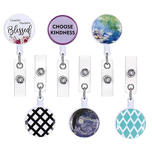 ECOHIP 6-Pack Retractable Badge Holders, ID Card Badge Reels,Cute Name Tag Lanyard, Office Button