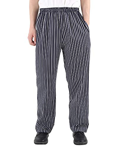 Men's and Women's Uniforms Kitchen Work Baggy Black and White Stripes Pant Cargo Style Chef Pants Blue S