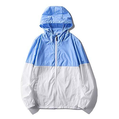 UV Shirt UPF 40+ Herrinnen Nähen Kontrastieren Lange Ärmel Sonnenschutz Kleidung Langarm (Farbe : Blau, Größe : M)