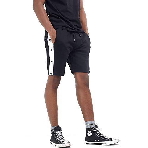 Brave Soul Herren Jersey-Shorts mit Druckknopf-Details (L) (Schwarz/Weißer Streifen)