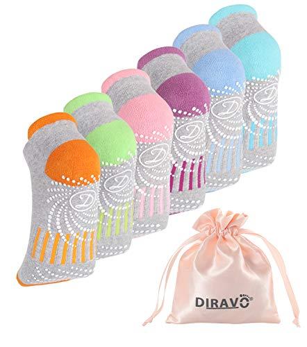 6 Pcs Diravo Non Slip Yoga Socks for Women, Anti-Skid Pilates, Barre, Fitness Socks with Grips, Size 5-10 (Multicolor 1)
