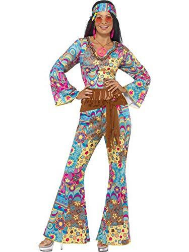 Halloweenia - Damen Frauen 60er Jahre Woodstock Hippie Kostüm mit Flower Power Oberteil, Schlaghose, Gürtel und Haarband, perfekt für Karneval, Fasching und Fastnacht, S, Blau