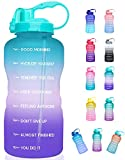 Giotto Large 1 Gallon/128oz (When Full) Motivational Water Bottle with Time Marker & Straw, Leakproof Tritan BPA Free for Fitness, Gym and Outdoor Sports-Purple/Pink/Green Gradient