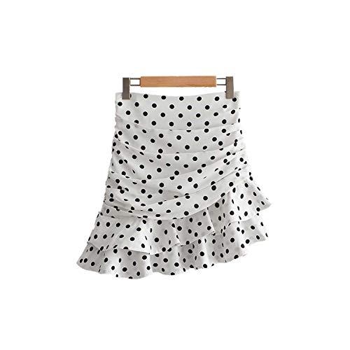 Vrouwen Polka Dot Wit Asymmetrische Mini Rok Ruches Plissé Hoge Taille Terug Chique Rokken