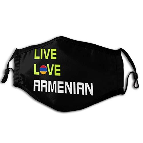 Szipry Live Love Armenio Adulto a prueba de viento Cara cubierta para las mujeres hombres anti filtro polvo sol UV ajustable reutilizable al aire libre cuello polaina