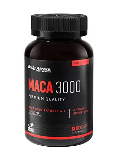 Body Attack-Maca 3000, hochdosierte 4:1 Maca Wurzel-Extrakt Caps, 3000mg Maca-Wurzelextrakt pro Tagesportion, Aspartamfrei, für alle Sportler & Athleten-Made in Germany- 90 Kapseln