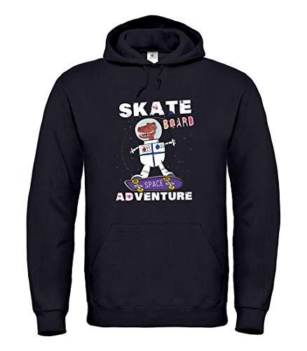 Druckerlebnis24 Hoodie - Dinosaurier Skateboard Astronaut Weltall - Kapuzenpullover Unisex für Kinder - Junge und Mädchen