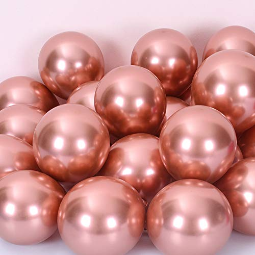50pcs 10inch Rose Gold Metallic Chrome Balloons Decorations for Engagement Wedding and Anniversary Celebrations Retirement Party Thanksgiving and Christmas Festival Party Supplies (Rose Gold, 10inch)