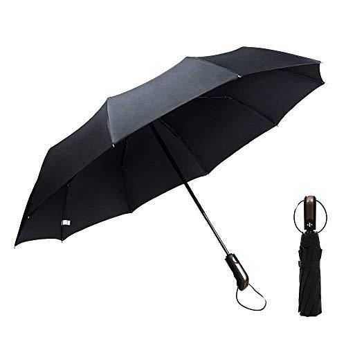 GogoTool Windproof Reise Regenschirm 118cm Winddicht Regenschirm Taschenschirm Automatische Open Close Leicht kompakt Stabiler Schirm mit 10 Ribs für Reisen Business (Schwarz)
