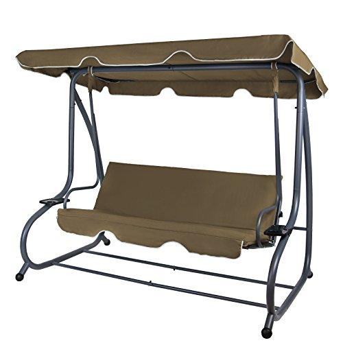 Montafox 4-Sitzer Hollywoodschaukel Gartenschaukel klappbar mit Bettfunktion mit Sonnendach und Liegefunktion für 4 Personen, Farbe:Bisonbraun