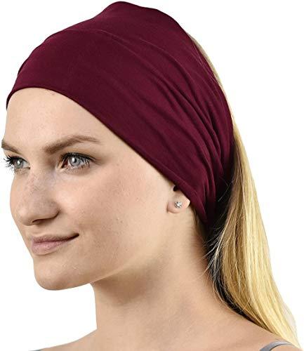Sgualie Unisex Headband Hair Band,Burgundy