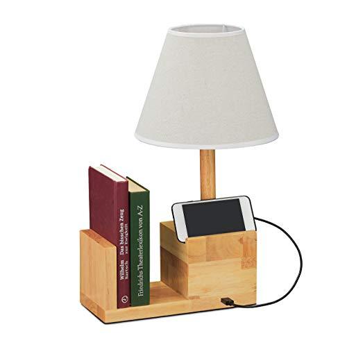 Relaxdays Tischlampe Holz, mit USB-Anschluss, Buchstütze & Handyhalter, E27, Nachttischlampe, Stoffschirm, natur/creme, 10032641