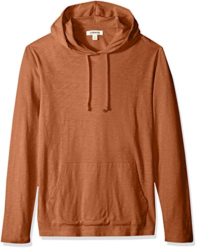 Goodthreads Men's Lightweight Slub T-Shirt Hoodie, rust, Large