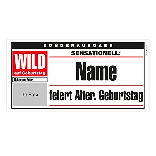 Herz & Heim® XXL Banner zum Geburtstag 0,80x1,60m im Zeitungs-Cover Stil - WILD - mit Foto, Name, Alter sowie Datum der Feier Posterpapier