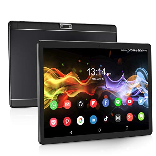 Tablet 10 Inch, 3G Phablet with Dual Sim Card Slots, Android 9.0 Tablets with 1280x800 IPS HD Screen, 32 GB Storage, Quad Core Processor, Bluetooth, GPS, FM, WiFi (Black)